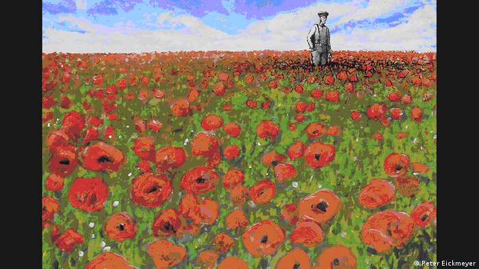Иллюстрация Маковое поле излучает умиротворенность, спокойствие. Но одиноко стоящий на нем солдат знает: здесь полегли его товарищи, здесь бушевала страшная война.