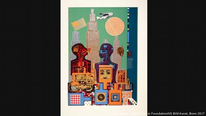 Eduardo Paolozzi, 'As is When: Wittgenstein in New York' (1965) stellt den Phlosophen und eine New Yorker Stadtlandschaft dar (Trustees of the Paolozzi Foundation/VG Bild-Kunst, Bonn 2017)