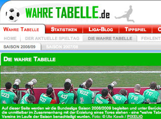 Screenshot of www.wahretabelle.de