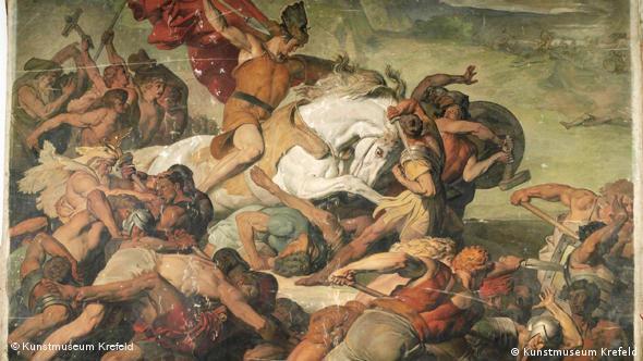 Varusschlacht Schlachtgemälde von Peter Janssen d. Ä., Der siegreich vordringende Hermann