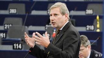 Straßburg Europäisches Parlament Johannes Hahn