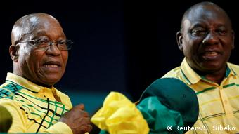 Rais wa Afrika Kusini Jacob Zuma na makamo wakeCyril Ramaphosa (Kutoka kushoto)