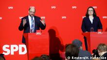 Social Democratic Party (SPD) leader Martin Schulz and incoming party leader Andrea Nahles address a news conference at the party headquarters in Berlin, Germany, February 7, 2018. REUTERS/Hannibal Hanschke