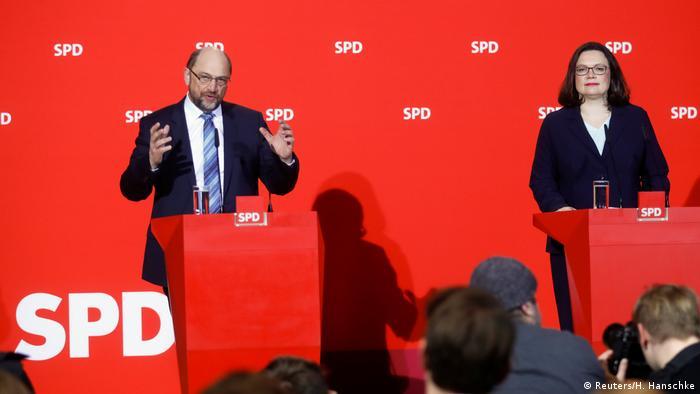 Martin Schulz and Andrea Nahles (Reuters/H. Hanschke)