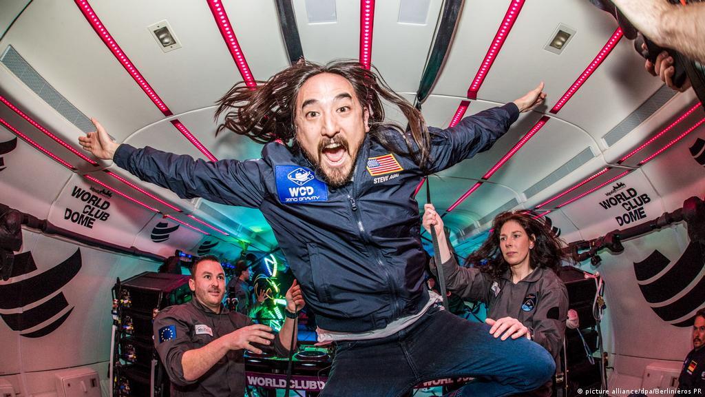 Zero gravity party plane takes off in Frankfurt Germany