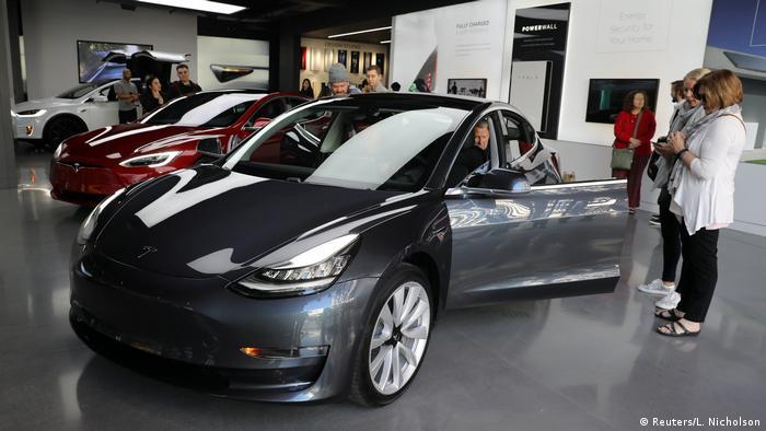 esla Model 3 in a showroom