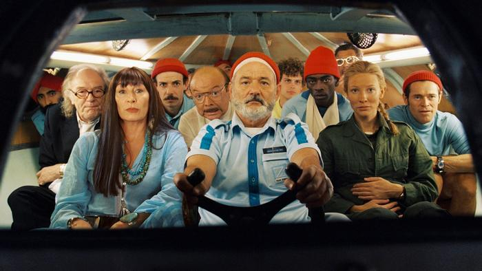 Willem Dafoe with the full cast of The Life Aquatic with Steve Zissou (Disney)