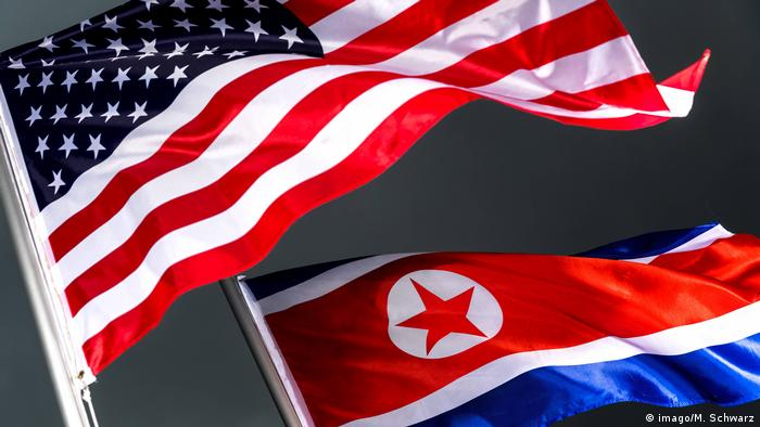 Flags of US and North Korea