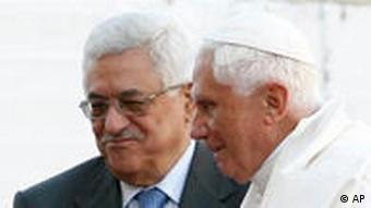 Pope Benedict XIV with Palestinian President Mahmoud Abbas