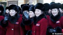 REFILE - CORRECTING TYPO Members of North Korean cheering squad arrive at a hotel in Inje, South Korea, February 7, 2018. Yonhap via REUTERS ATTENTION EDITORS - THIS IMAGE HAS BEEN SUPPLIED BY A THIRD PARTY. SOUTH KOREA OUT. NO RESALES. NO ARCHIVE.