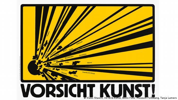 Vorsicht Kunst lautet der Schriftzug auf einem Plakat von Klaus Staeck