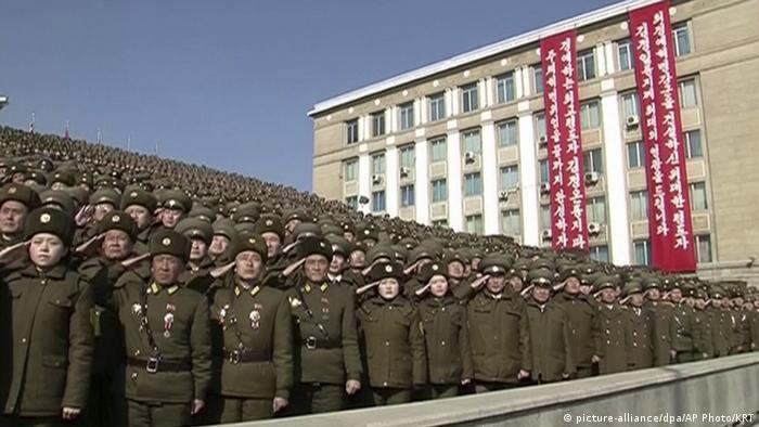 Desfile militar en Corea del Norte.