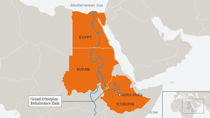 Infographic showing the path of the Nile River and the location of the Renaissance Dam