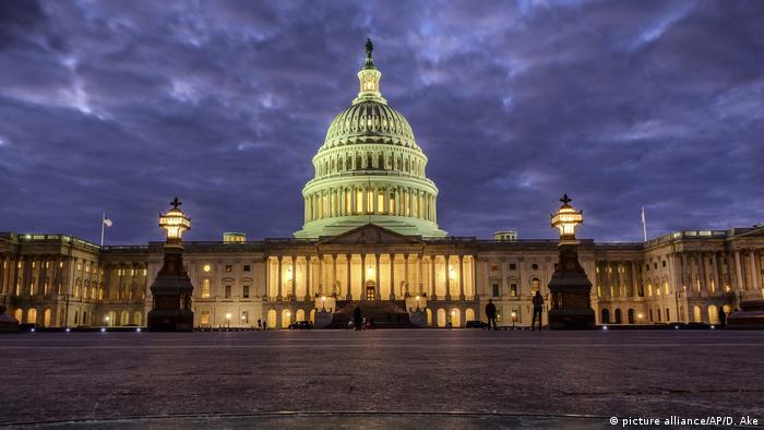 U.S. Capitol Building as night falls in Washington