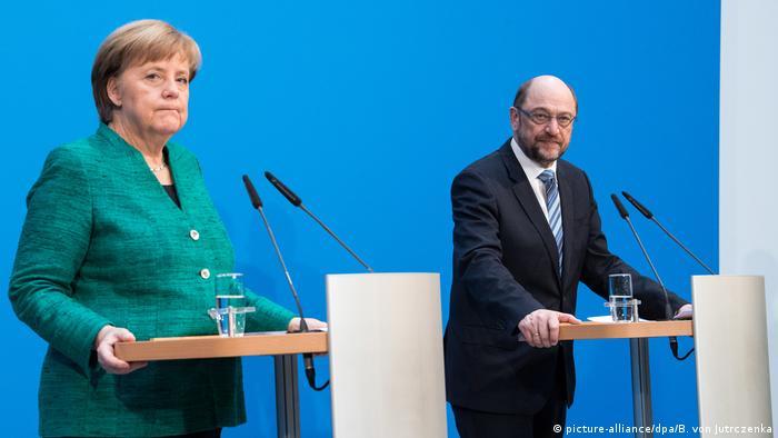 German Chancellor Angela Merkel and SPD head Martin Schulz