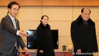 Nordkoreas Staatsoberhaupt Kim Yong Nam (R) und Kim Yo Jong in Südkorea