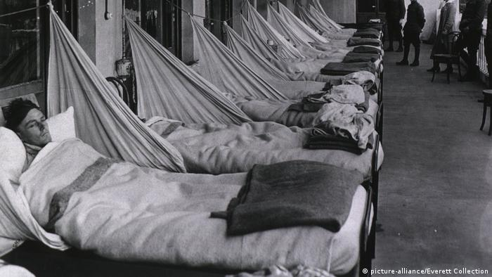 The sick in hospital beds during the Spanish Flu pandemic of 1918-1919.