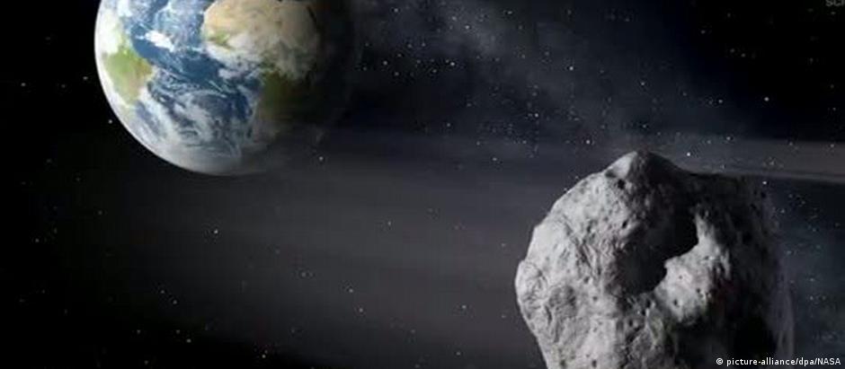 Simulação digital do trajeto do asteroide 2018 CB