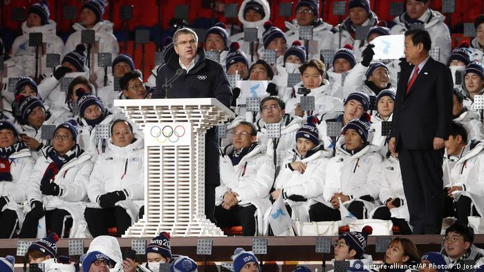 Olympische Winterspiele 2018 Eröffnung Rede Lee Hee-beom (picture-alliance/AP Photo/P.D.Josek)