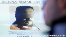 Mexico - Zentrales Mitglied der Los Zetas Jose Maria Guizar (Z43) auf Bildschirm in Mexico City