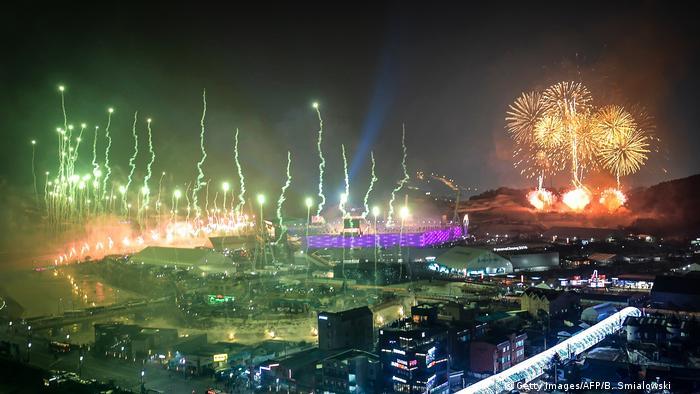 Cerimónia de abertura dos Jogos Olímpicos de Inverno, em Pyeongchang, na Coreia do Sul (Getty Images/AFP/B. Smialowski )