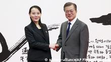 Moon Jae-in and Kim Yo Jong (picture-alliance/AP Photo/K. Ju-sung)