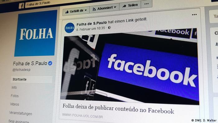 Folha hört auf, Inhalte auf Facebook zu publizieren