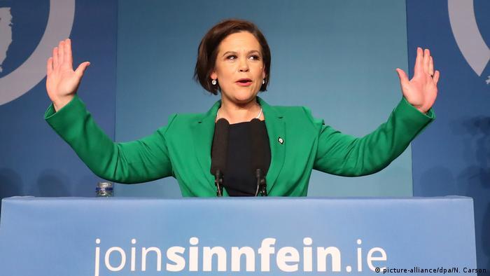 Mary Lou McDonald at the Sinn Fein party meeting