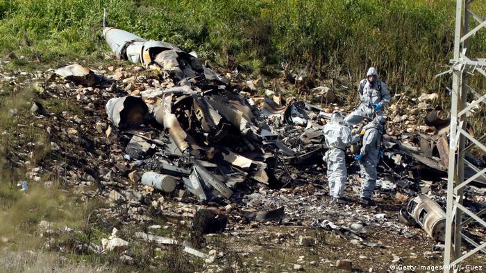 Crashed Israeli F-16 plane