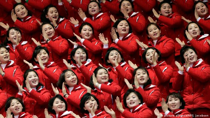 Olympische Winterspiele 2018 in PyeongChang | Fans Nordkorea (picture alliance/AP/J. Jacobson)