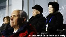 Mike Pence und Kim Yo Jong at the opening ceremony for the 2018 Winter Olympics in Pyeongchang, South Korea (picture-alliance/dpa/P. Semansky)