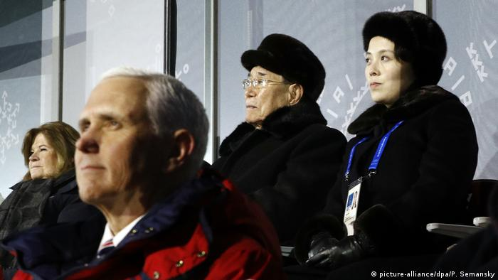 Mike Pence and Kim Yo Jong at the opening ceremony of the 2018 Winter Olympics in Pyeongchang, South Korea (picture-alliance/dpa/P. Semansky)