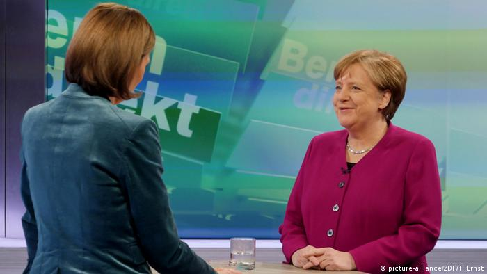 Chancellor Angela Merkel on ZDF