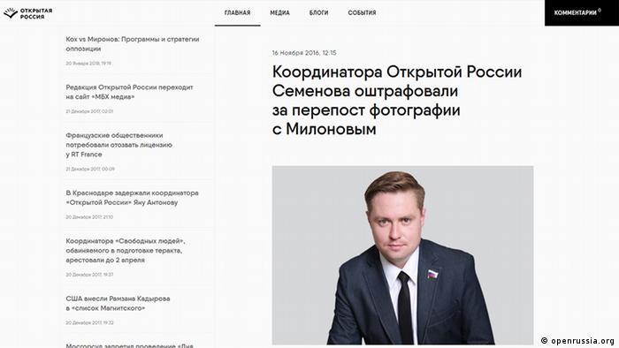 Screenshot - Dmitrij Semenov - Koordinator der russ. oppositionellen Bewegung Otkrytaja Rossiya mit der Nachricht über eine Strafe, die gegen ihn verhängt wurde (openrussia.org)