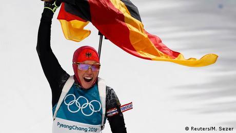Südkora Pyeongchang - Laura Dahlmeier jubelt beim Biathlon der Frauen (Reuters/M. Sezer)
