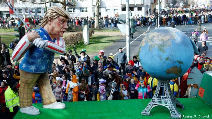 Carnival float in Mainz showing Trump