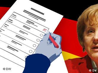 A graphic showing a survey sheet and Chancellor Merkel's photo superimposed on the German flag