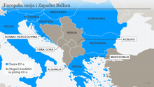 Infografik Karte EU Mitgliedschaft KRO Beitrittskandidaten Westbalkan Infografik Karte Westbalkan und EU KRO