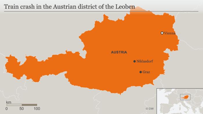 Map of train crash in Austria