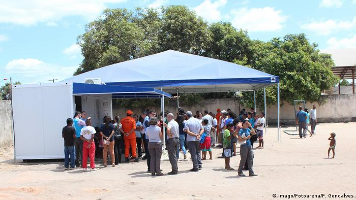 A crowd of Venezuelans gather at a tented aid agency in Boa Vista, Brazil.