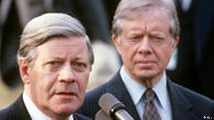Helmut Schmidt and Jimmy Carter in 1980
