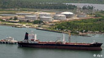 Oil tanker docking in the Niger delta