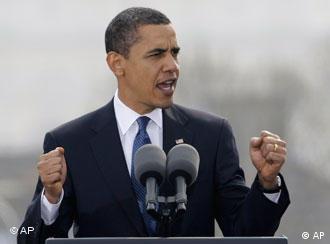 US-Präsident Obama bei seiner Rede in Prag im April 2009 (Foto: AP)