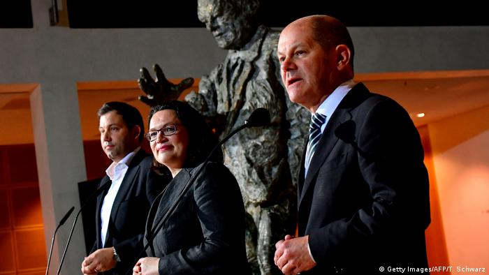 Berlin SPD Statement Klingbeil, Nahles, Scholz (Foto: Getty Images/AFP/T. Schwarz)