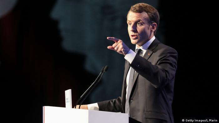 Emmanuel Macron speaking in Paris