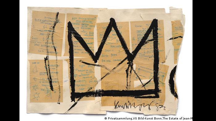 Jean-Michel Basquiat, Ohne Titel (Krone), 1982. Eine dreizackige Krone auf einer Papiercollage. Acryl, Tusche und Papiercollage auf Papier (Privatsammlung,VG Bild-Kunst Bonn,The Estate of Jean-Michel Basquiat)