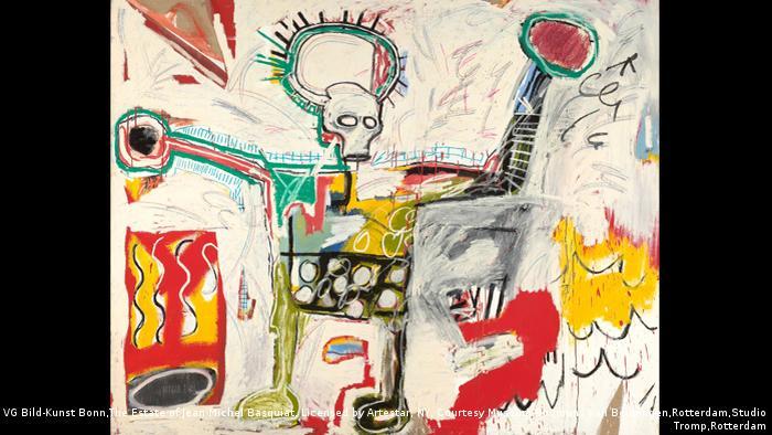 Jean-Michel Basquiat, Ohne Titel, 1982, Acryl und Öl auf Leinen, Siegerpose eines Boxers mit Rinderschädel und Heiligenschein. Museum Boijmans Van Beuningen, Rotterdam (VG Bild-Kunst Bonn,The Estate of Jean-Michel Basquiat, Licensed by Artestar, NY, Courtesy Museum Boijmans Van Beuningen,Rotterdam,Studio Tromp,Rotterdam)