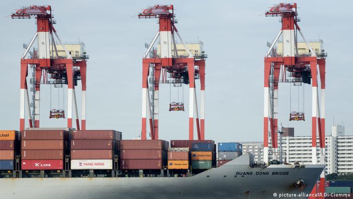 Japan, ein Containerschiff kommt in einem Hafen in Tokio an (picture-alliance/A.Di Ciommo)