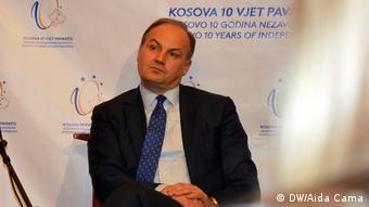New York, Enver Hoxhaj, Veranstaltung 10 Jahre Unabhängigkeit Kosovos (DW/Aida Cama)