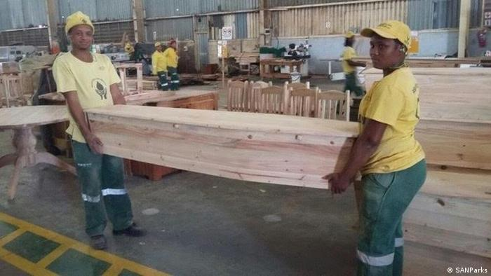 Two employees at the Eco Furniture Factory in George, South Africa.